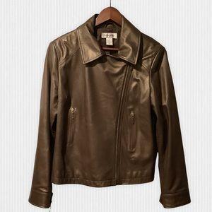 Preston & York Bronze Moto Style Leather Jacket L
